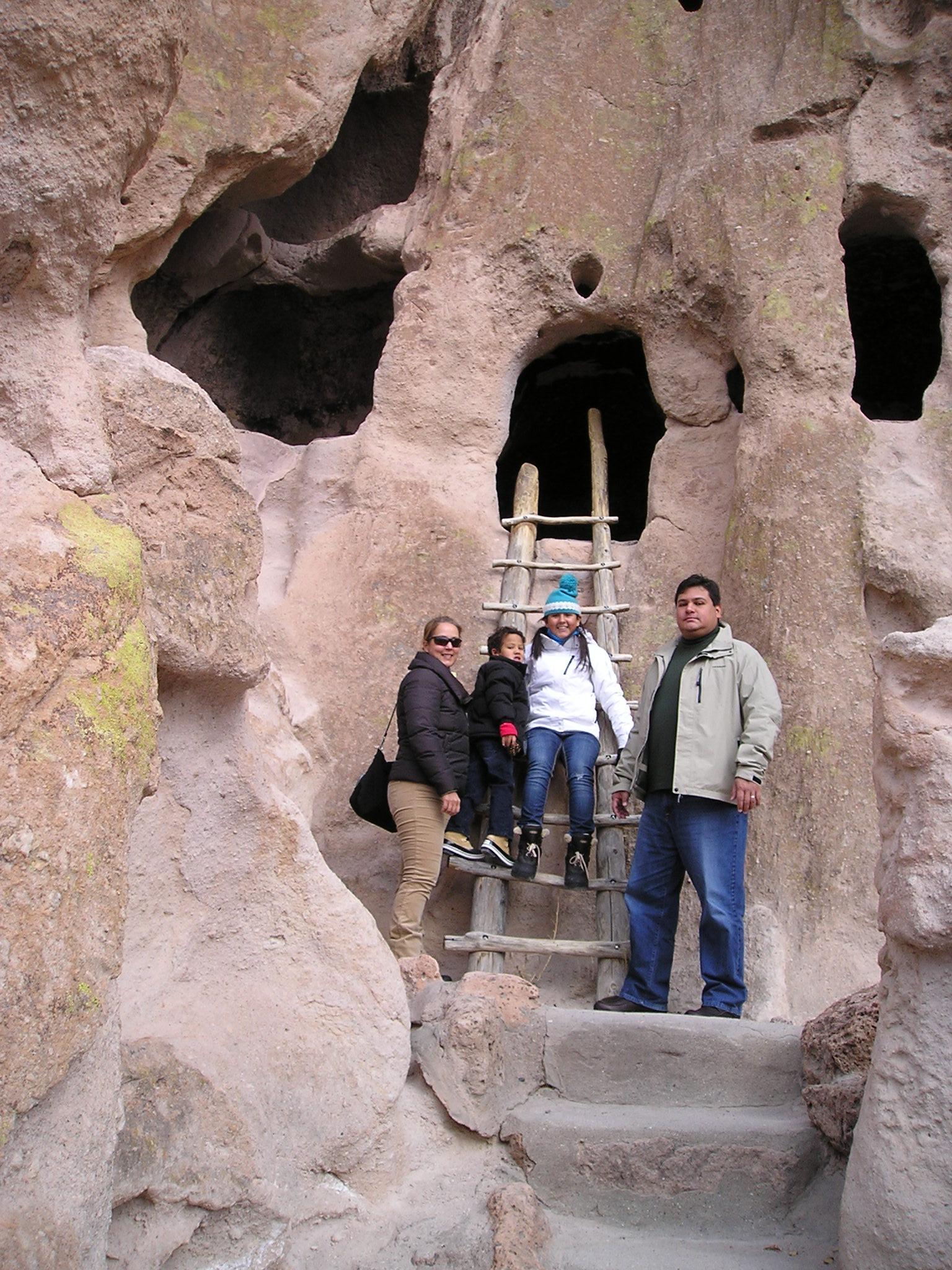 Family explores Bandelier National Park